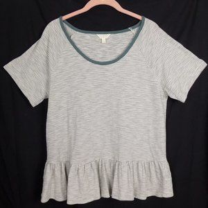 Lucky Brand Peplum Striped T-Shirt Scoop Neck SS